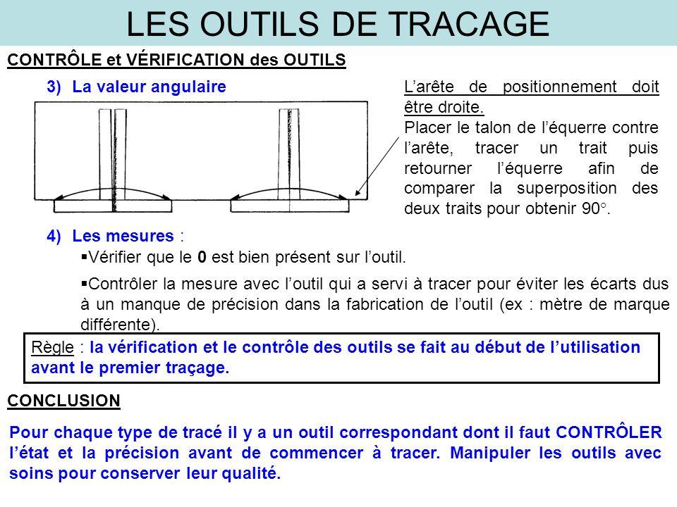 LES OUTILS DE TRACAGE CONTRÔLE et VÉRIFICATION des OUTILS 3)La valeur angulaire Larête de positionnement doit être droite.