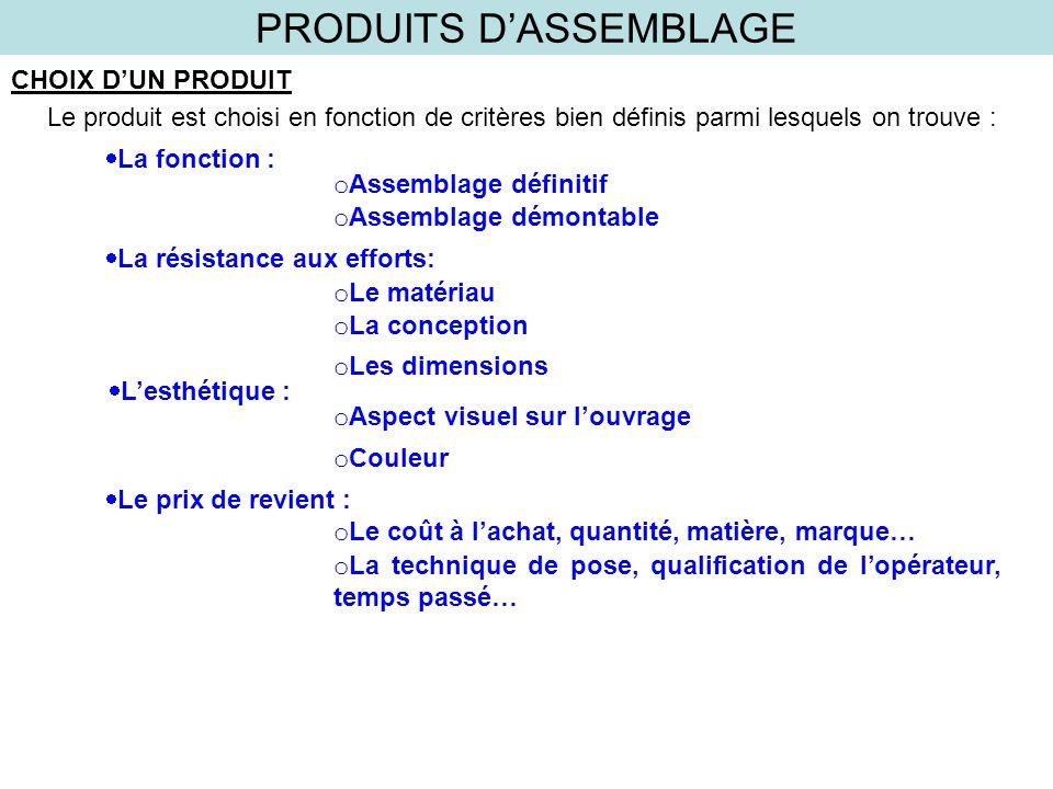 PRODUITS DASSEMBLAGE CHOIX DUN PRODUIT Le produit est choisi en fonction de critères bien définis parmi lesquels on trouve : La fonction : o Assemblag