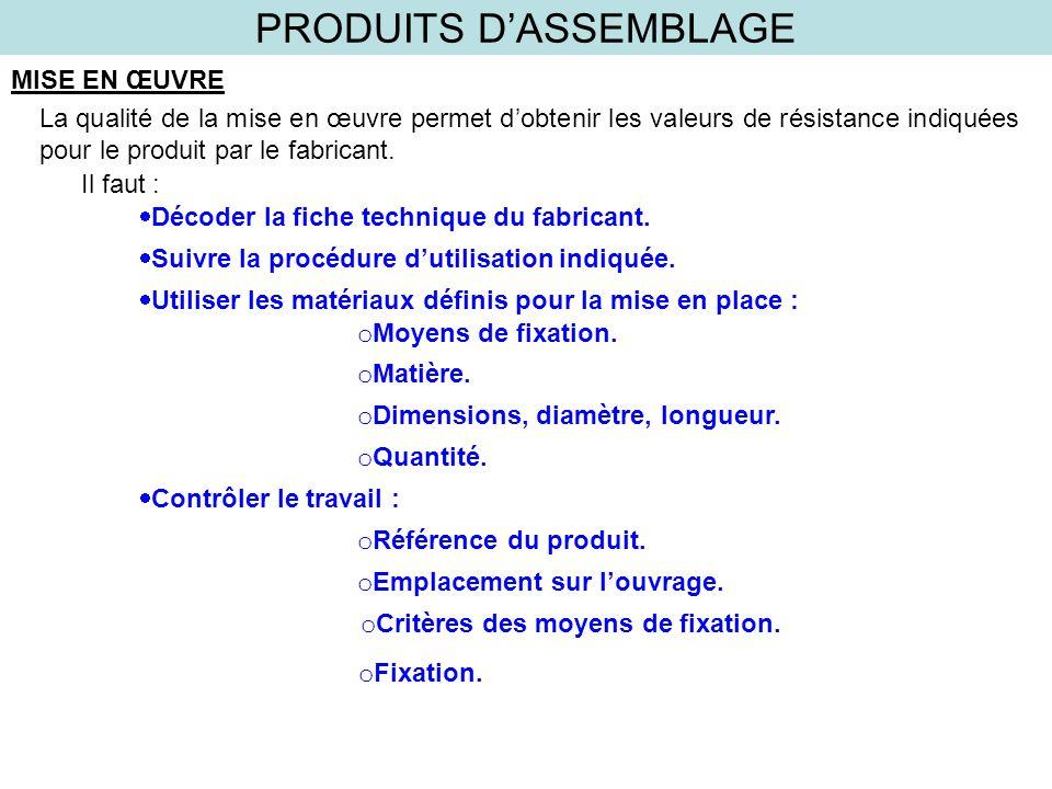 PRODUITS DASSEMBLAGE MISE EN ŒUVRE La qualité de la mise en œuvre permet dobtenir les valeurs de résistance indiquées pour le produit par le fabricant