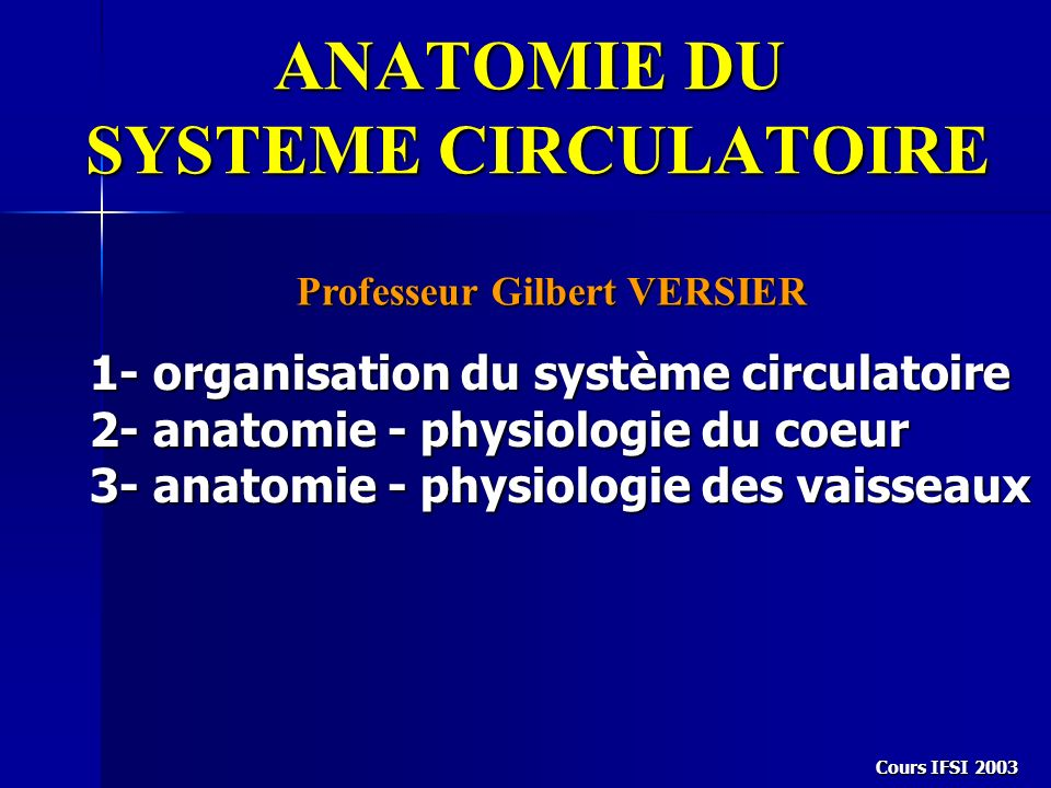 Cours IFSI 2003 ANATOMIE DU SYSTEME CIRCULATOIRE Professeur Gilbert VERSIER 1- organisation du système circulatoire 2- anatomie - physiologie du coeur