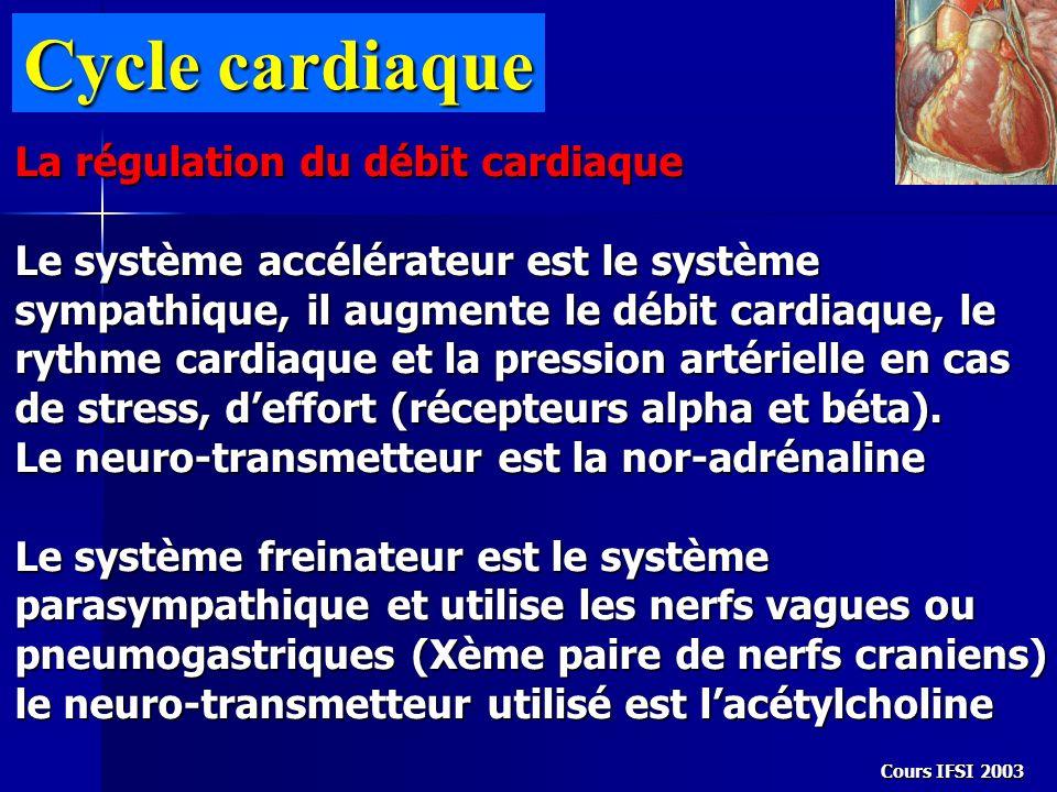 Cycle cardiaque La régulation du débit cardiaque Le système accélérateur est le système sympathique, il augmente le débit cardiaque, le rythme cardiaq
