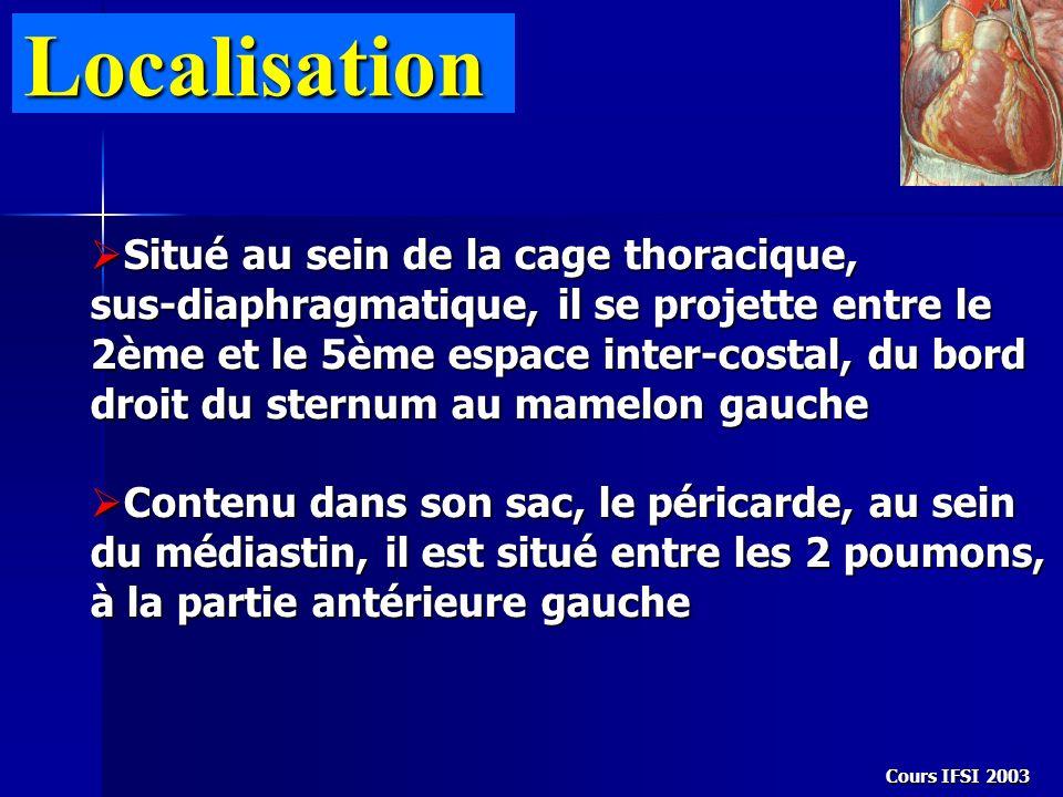 Cours IFSI 2003 Localisation Situé au sein de la cage thoracique, sus-diaphragmatique, il se projette entre le 2ème et le 5ème espace inter-costal, du