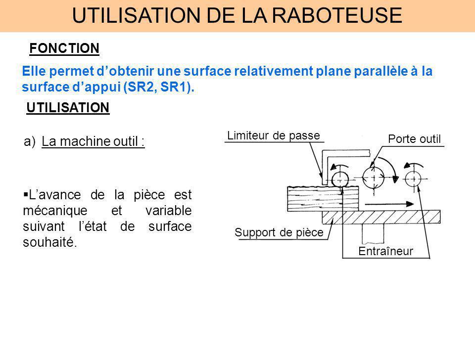 UTILISATION DE LA RABOTEUSE b)Choix des faces à usiner : 1ère sous phase il faut usiner la plus grande dimension de la pièce, la largeur et créer la surface parallèle à SR2, lappui sur la table.
