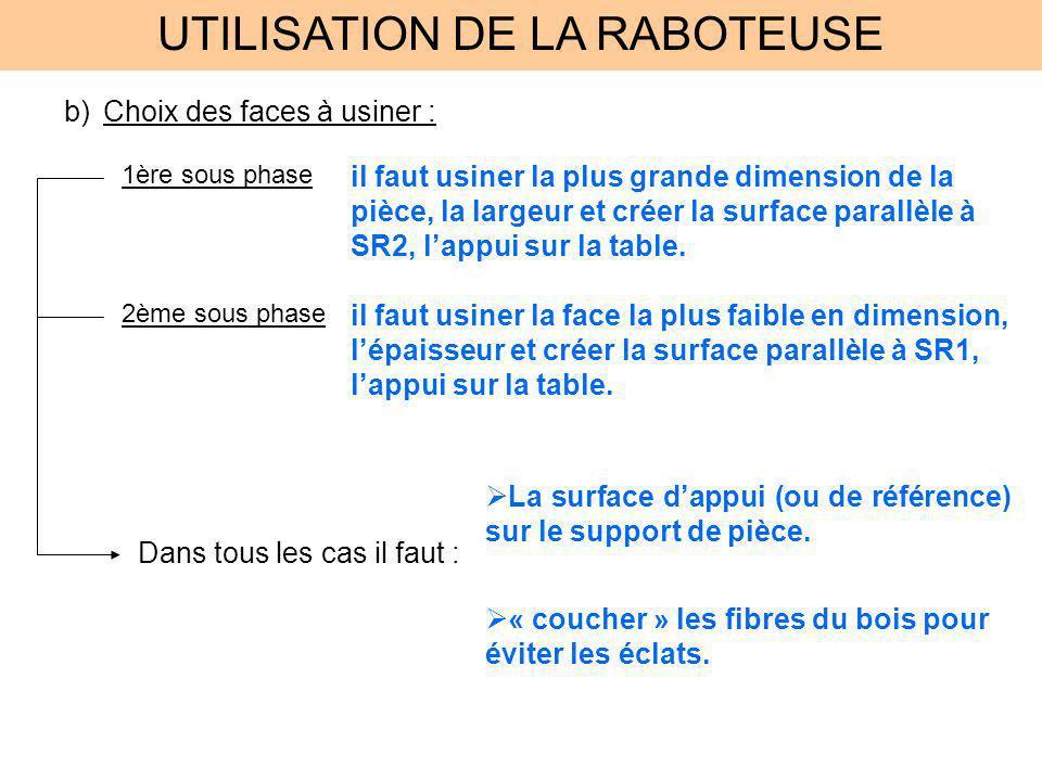 UTILISATION DE LA RABOTEUSE c)Usinage : Regrouper les pièces par cotes à obtenir.