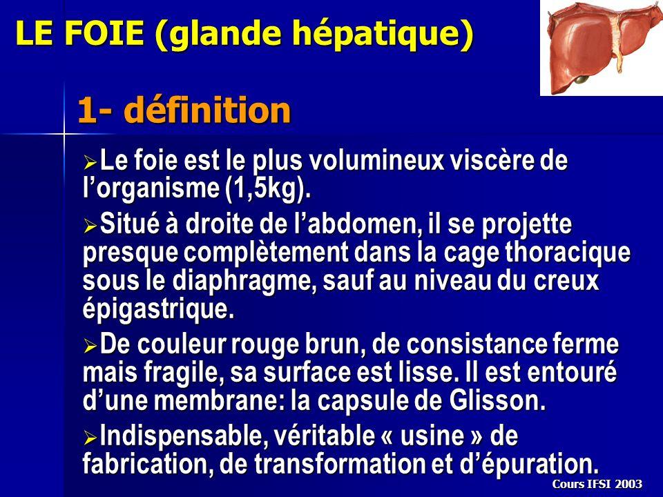 Cours IFSI 2003 LE FOIE (glande hépatique) 1- définition Le foie est le plus volumineux viscère de lorganisme (1,5kg). Le foie est le plus volumineux