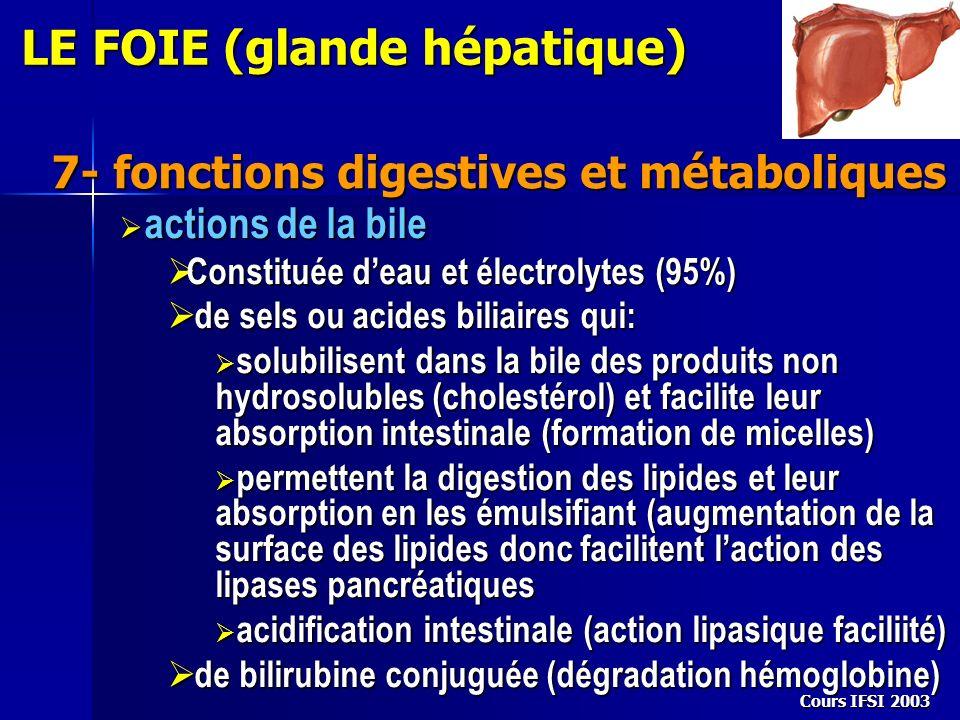 Cours IFSI 2003 7- fonctions digestives et métaboliques LE FOIE (glande hépatique) actions de la bile actions de la bile Constituée deau et électrolyt