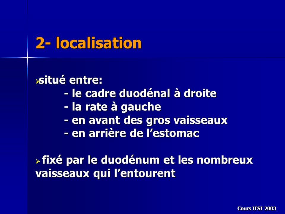 Cours IFSI 2003 2- localisation situé entre: situé entre: - le cadre duodénal à droite - la rate à gauche - en avant des gros vaisseaux - en arrière d