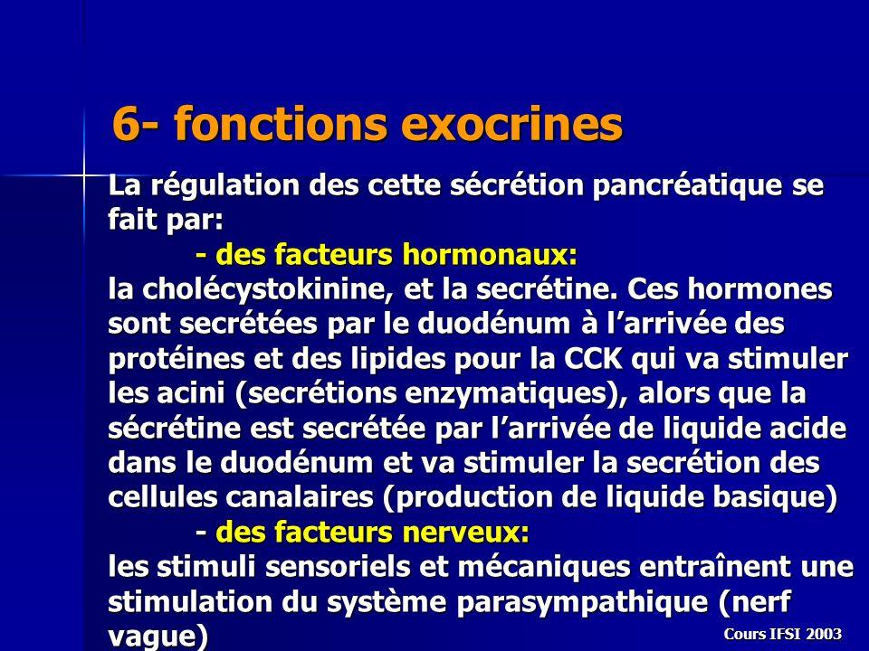 Cours IFSI 2003 6- fonctions exocrines La régulation des cette sécrétion pancréatique se fait par: - des facteurs hormonaux: la cholécystokinine, et l