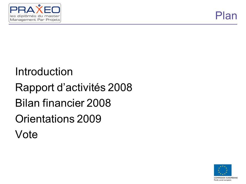 Plan Introduction Rapport dactivités 2008 Bilan financier 2008 Orientations 2009 Vote