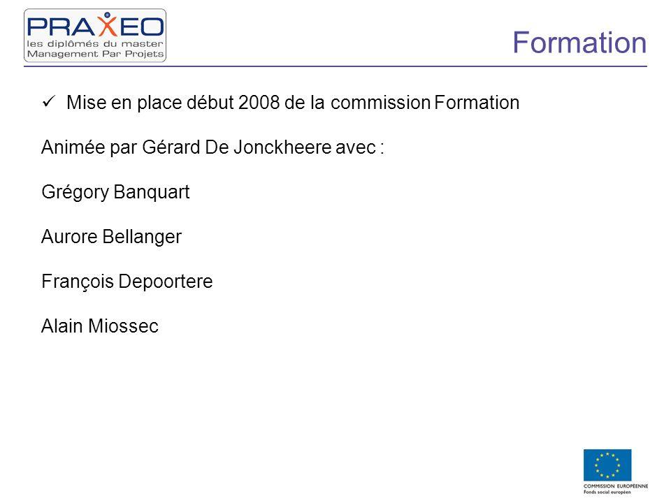 Formation Mise en place début 2008 de la commission Formation Animée par Gérard De Jonckheere avec : Grégory Banquart Aurore Bellanger François Depoor