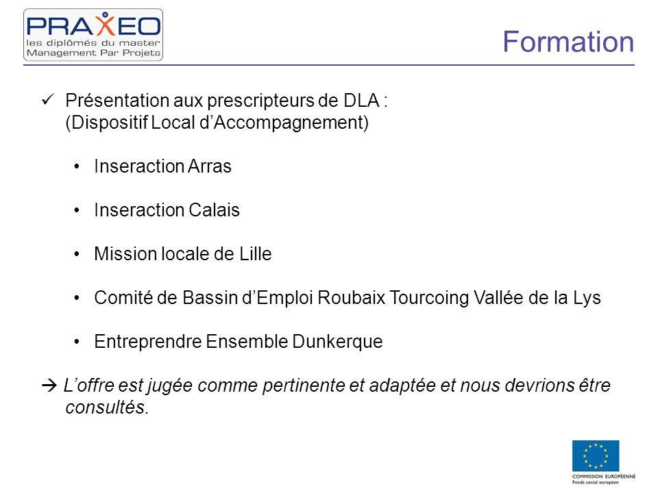Formation Présentation aux prescripteurs de DLA : (Dispositif Local dAccompagnement) Inseraction Arras Inseraction Calais Mission locale de Lille Comi