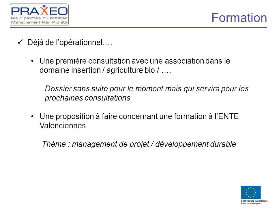 Formation Déjà de lopérationnel…. Une première consultation avec une association dans le domaine insertion / agriculture bio / …. Dossier sans suite p
