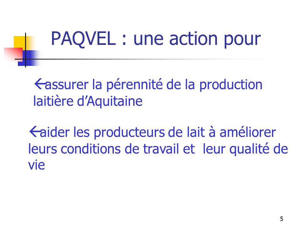 6 Lorganisation de PAQVEL Deux techniciens référents pour animer laction et suivre les projets Sud-Aquitaine Nord-Aquitaine Des techniciens formés : Chambre dAgriculture, contrôle laitier, FDPL… De nombreux partenaires : filière lait, partenaires emploi…