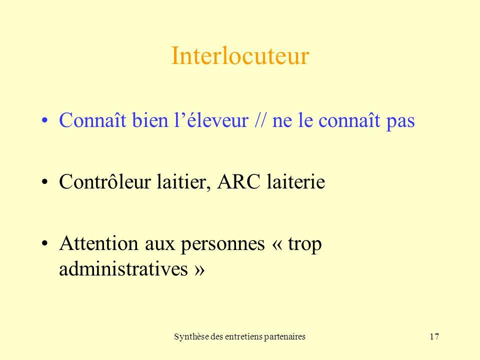 Synthèse des entretiens partenaires17 Interlocuteur Connaît bien léleveur // ne le connaît pas Contrôleur laitier, ARC laiterie Attention aux personnes « trop administratives »