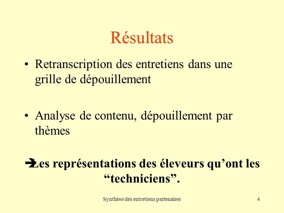 Synthèse des entretiens partenaires4 Résultats Retranscription des entretiens dans une grille de dépouillement Analyse de contenu, dépouillement par thèmes Les représentations des éleveurs quont lestechniciens.