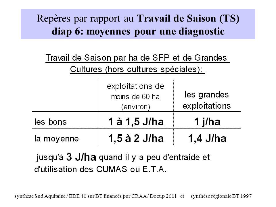 synthèse Sud Aquitaine / EDE 40 sur BT financés par CRAA / Docup 2001 et synthèse régionale BT 1997 Repères par rapport au Travail de Saison (TS) diap