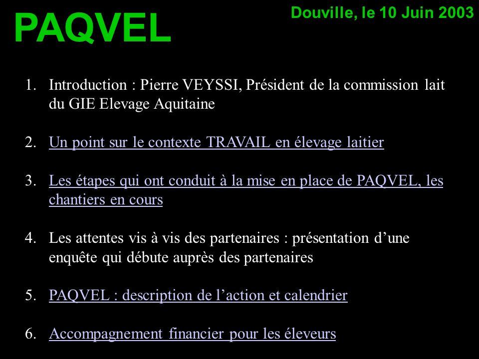 1.Introduction : Pierre VEYSSI, Président de la commission lait du GIE Elevage Aquitaine 2.Un point sur le contexte TRAVAIL en élevage laitierUn point