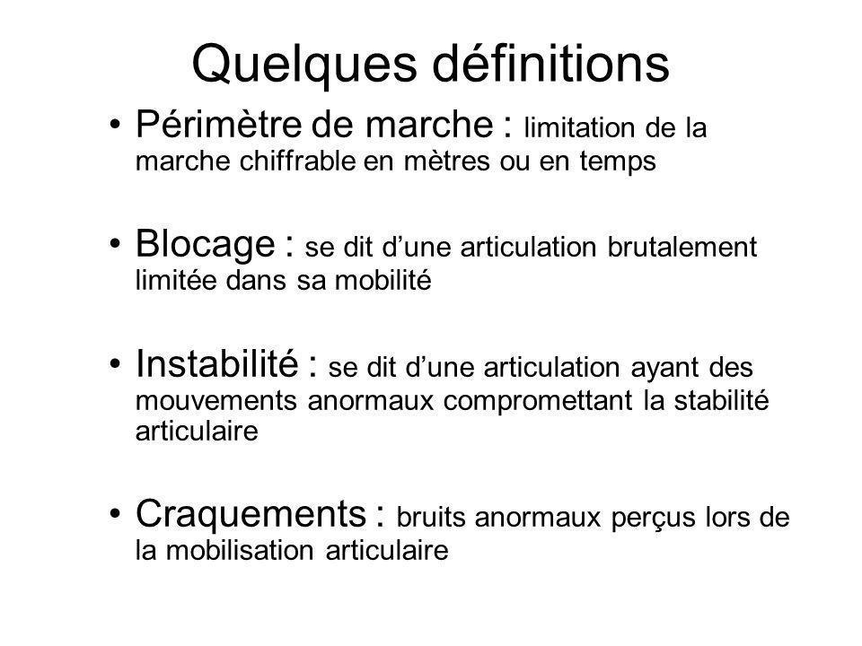 Quelques définitions Périmètre de marche : limitation de la marche chiffrable en mètres ou en temps Blocage : se dit dune articulation brutalement lim