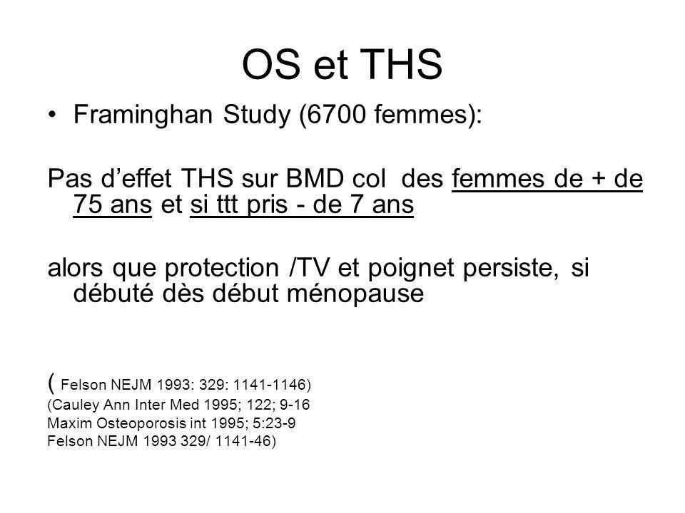 OS et THS Framinghan Study (6700 femmes): Pas deffet THS sur BMD col des femmes de + de 75 ans et si ttt pris - de 7 ans alors que protection /TV et p