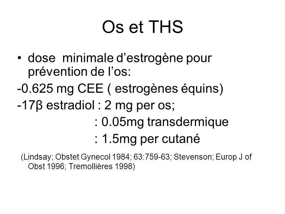 Os et THS dose minimale destrogène pour prévention de los: -0.625 mg CEE ( estrogènes équins) -17β estradiol : 2 mg per os; : 0.05mg transdermique : 1