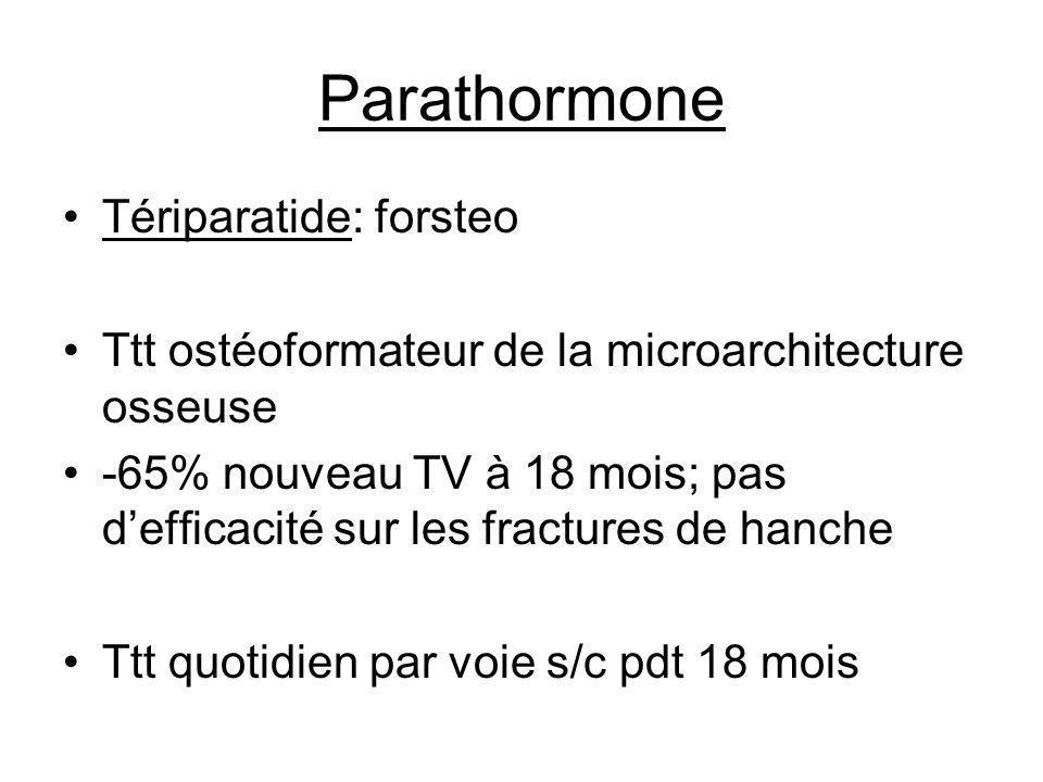 Parathormone Tériparatide: forsteo Ttt ostéoformateur de la microarchitecture osseuse -65% nouveau TV à 18 mois; pas defficacité sur les fractures de