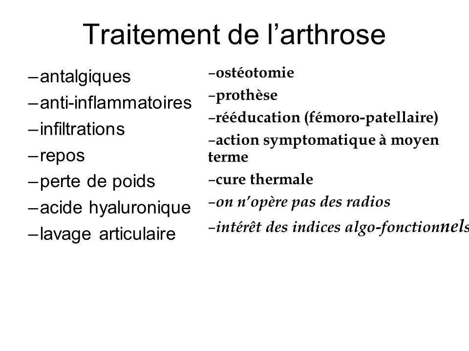 Traitement de larthrose –antalgiques –anti-inflammatoires –infiltrations –repos –perte de poids –acide hyaluronique –lavage articulaire – ostéotomie –