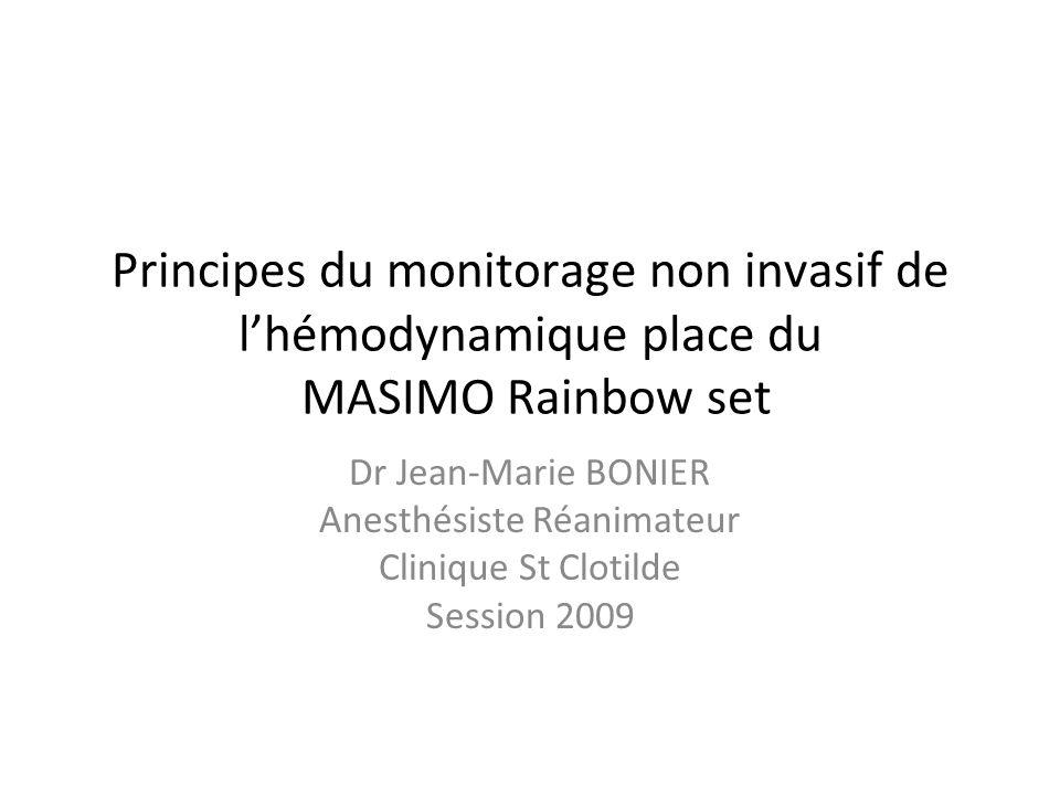 Principes du monitorage non invasif de lhémodynamique place du MASIMO Rainbow set Dr Jean-Marie BONIER Anesthésiste Réanimateur Clinique St Clotilde S