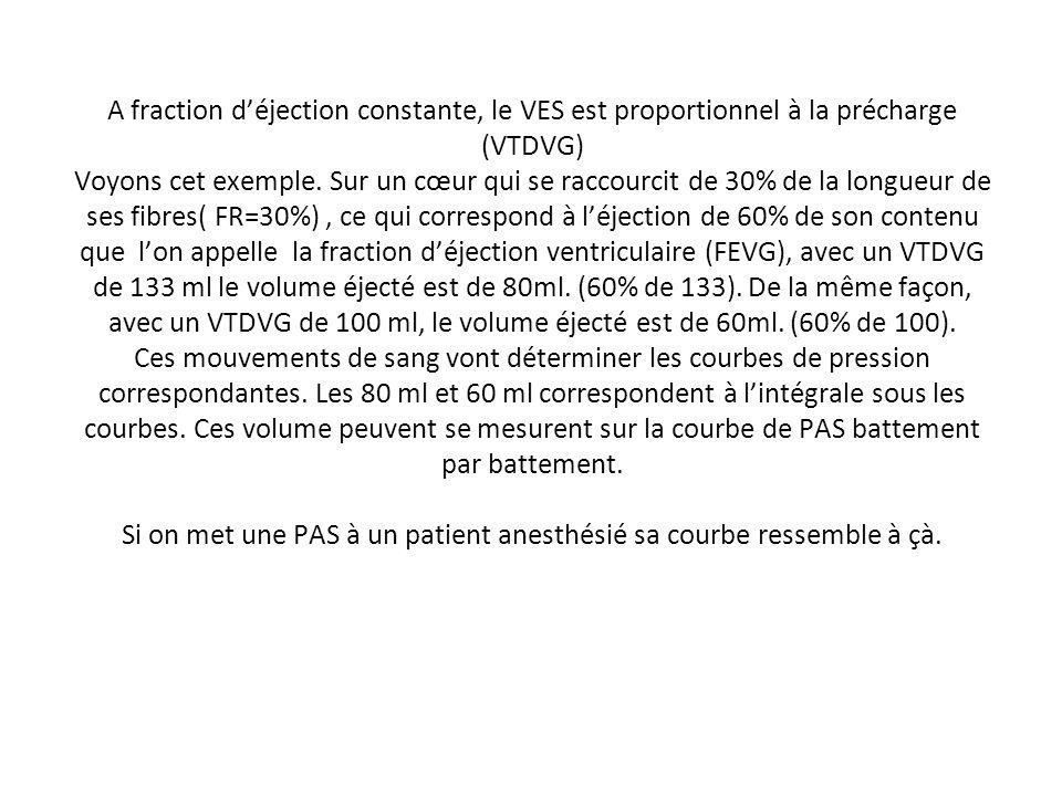 A fraction déjection constante, le VES est proportionnel à la précharge (VTDVG) Voyons cet exemple. Sur un cœur qui se raccourcit de 30% de la longueu