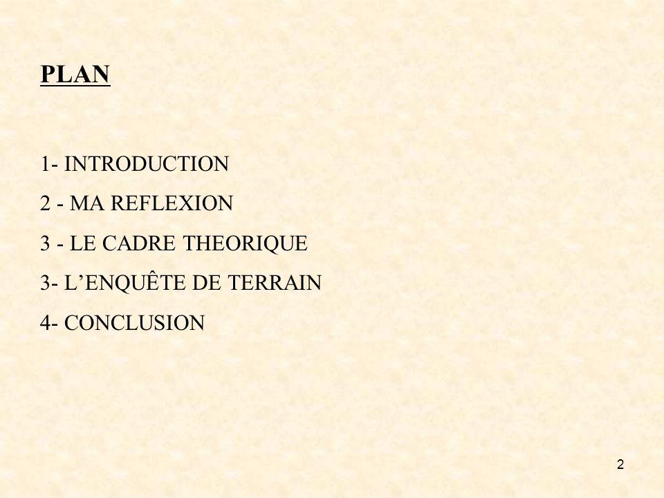2 PLAN 1- INTRODUCTION 2 - MA REFLEXION 3 - LE CADRE THEORIQUE 3- LENQUÊTE DE TERRAIN 4- CONCLUSION