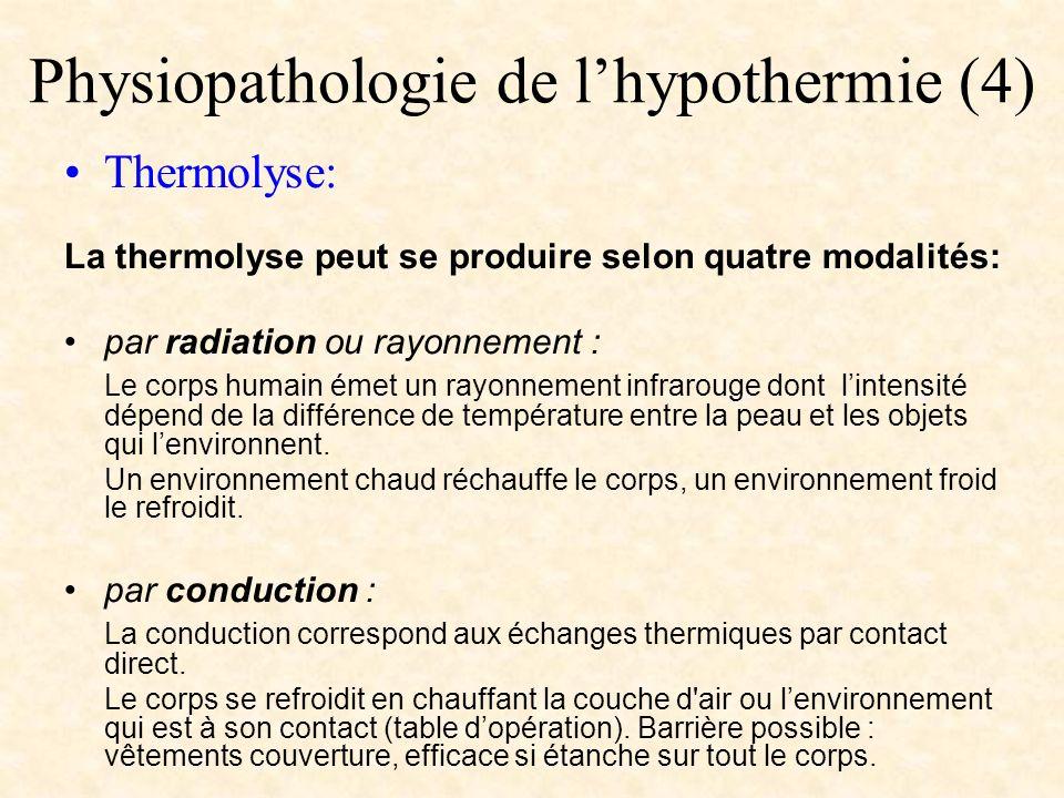 Physiopathologie de lhypothermie (4) Thermolyse: La thermolyse peut se produire selon quatre modalités: par radiation ou rayonnement : Le corps humain