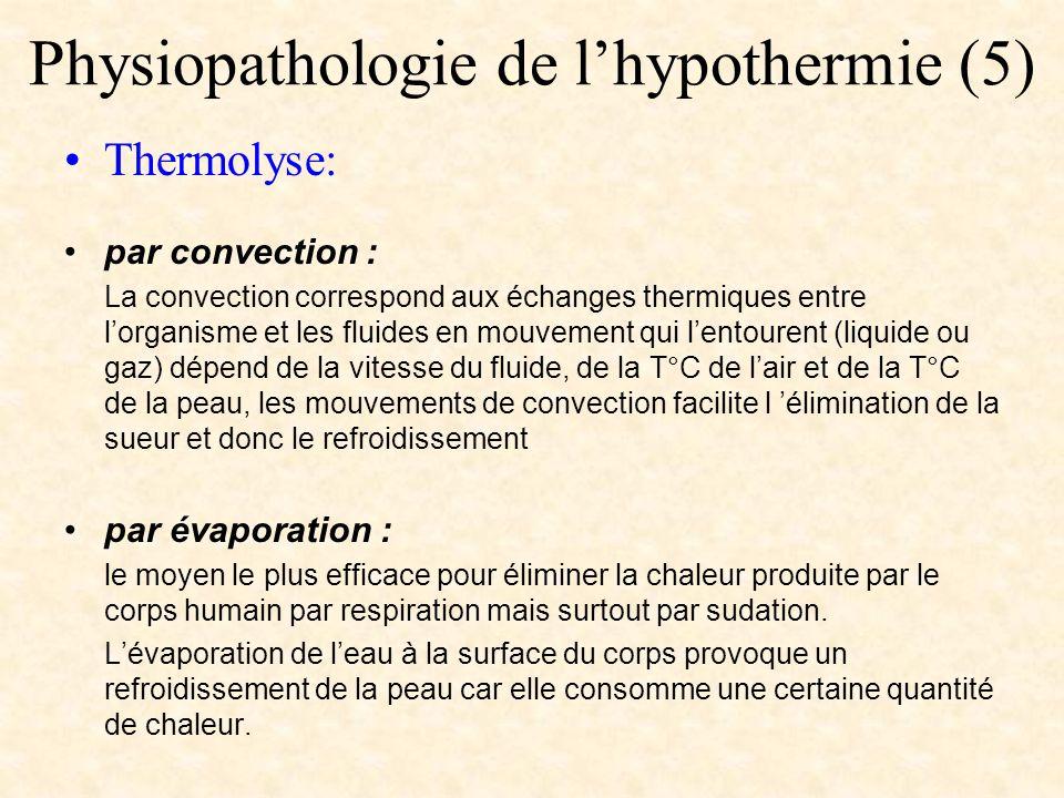 Physiopathologie de lhypothermie (5) Thermolyse: par convection : La convection correspond aux échanges thermiques entre lorganisme et les fluides en