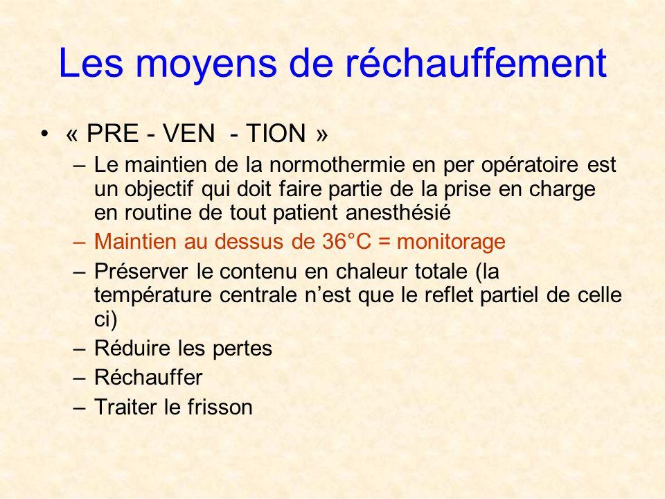 Les moyens de réchauffement « PRE - VEN - TION » –Le maintien de la normothermie en per opératoire est un objectif qui doit faire partie de la prise e