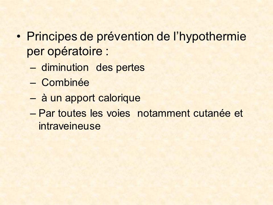 Principes de prévention de lhypothermie per opératoire : – diminution des pertes – Combinée – à un apport calorique –Par toutes les voies notamment cu