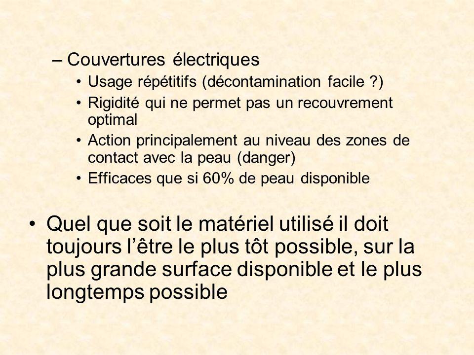 –Couvertures électriques Usage répétitifs (décontamination facile ?) Rigidité qui ne permet pas un recouvrement optimal Action principalement au nivea