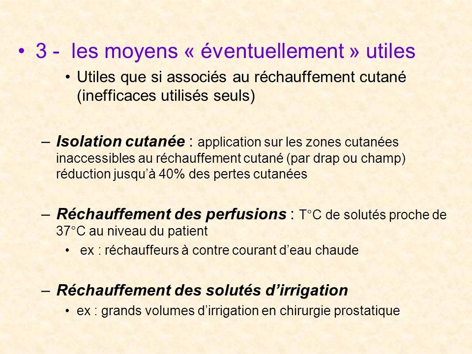 3 - les moyens « éventuellement » utiles Utiles que si associés au réchauffement cutané (inefficaces utilisés seuls) –Isolation cutanée : application