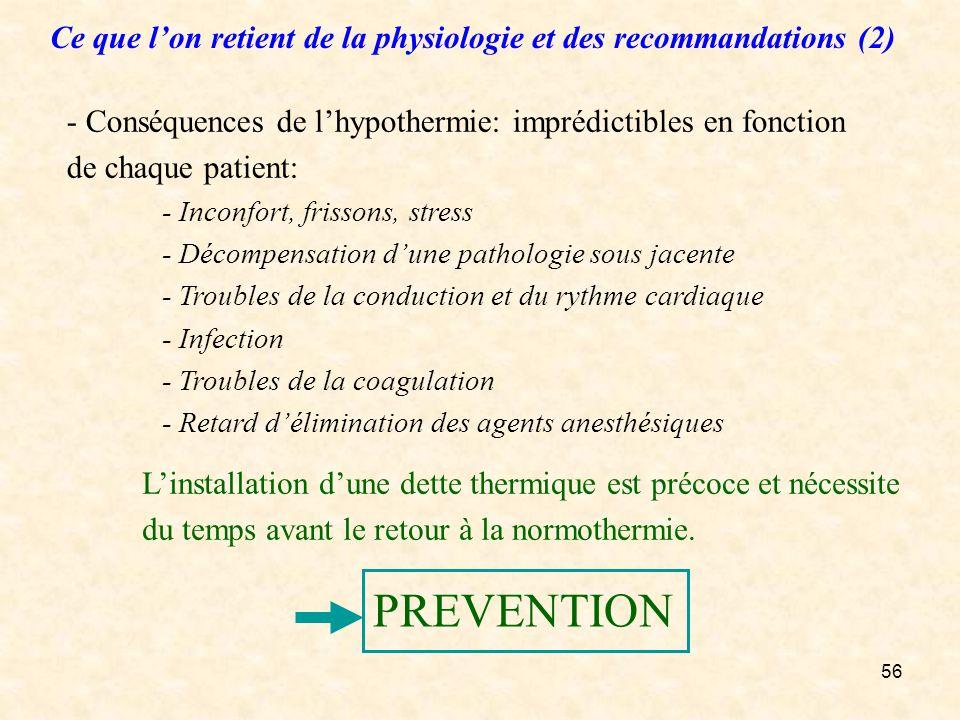 56 - Conséquences de lhypothermie: imprédictibles en fonction de chaque patient: - Inconfort, frissons, stress - Décompensation dune pathologie sous j