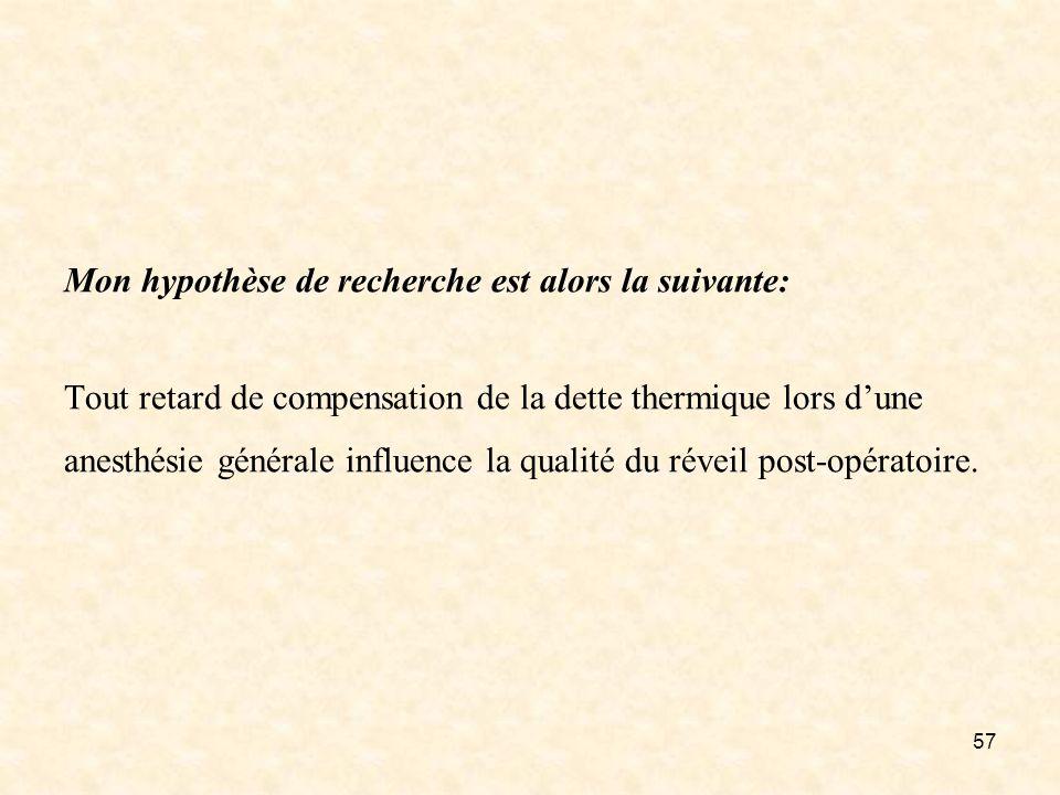 57 Mon hypothèse de recherche est alors la suivante: Tout retard de compensation de la dette thermique lors dune anesthésie générale influence la qual