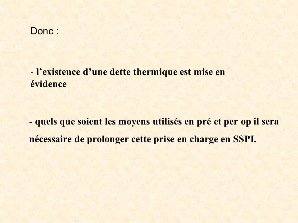 Donc : - quels que soient les moyens utilisés en pré et per op il sera nécessaire de prolonger cette prise en charge en SSPI. - lexistence dune dette