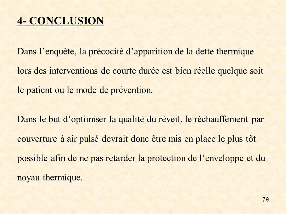 79 4- CONCLUSION Dans lenquête, la précocité dapparition de la dette thermique lors des interventions de courte durée est bien réelle quelque soit le