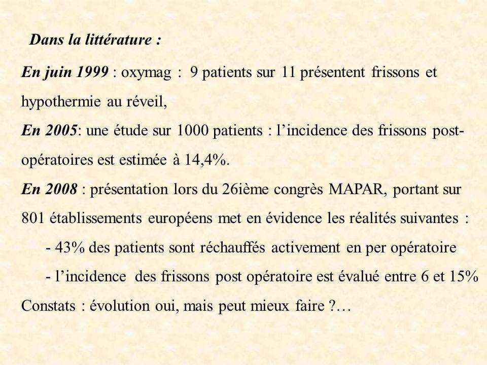 Dans la littérature : En juin 1999 : oxymag : 9 patients sur 11 présentent frissons et hypothermie au réveil, En 2005: une étude sur 1000 patients : l