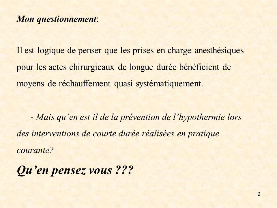 9 Mon questionnement: Il est logique de penser que les prises en charge anesthésiques pour les actes chirurgicaux de longue durée bénéficient de moyen