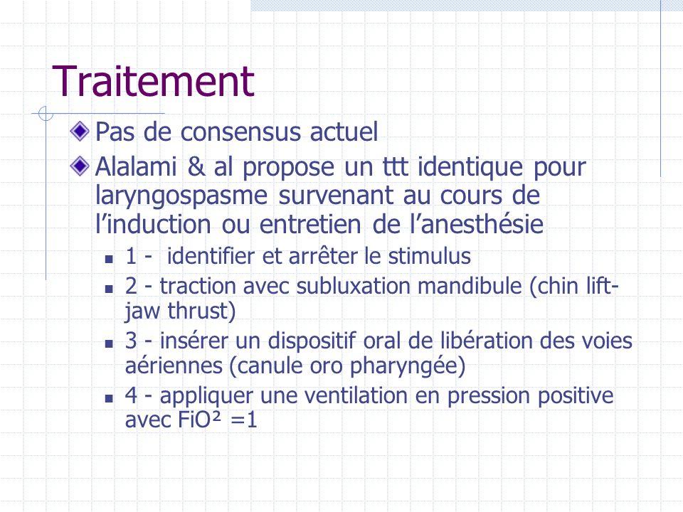 Traitement Pas de consensus actuel Alalami & al propose un ttt identique pour laryngospasme survenant au cours de linduction ou entretien de lanesthés