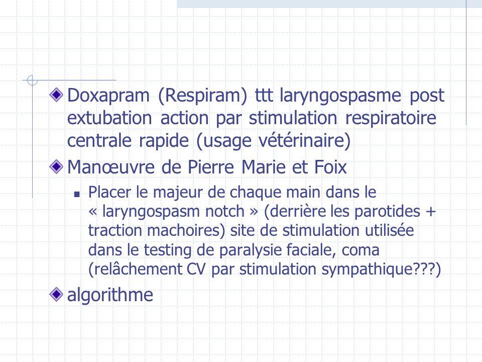 Doxapram (Respiram) ttt laryngospasme post extubation action par stimulation respiratoire centrale rapide (usage vétérinaire) Manœuvre de Pierre Marie