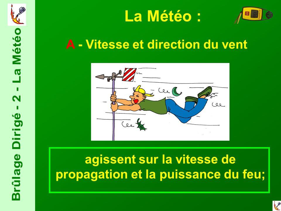 La Météo : A - Vitesse et direction du vent agissent sur la vitesse de propagation et la puissance du feu;