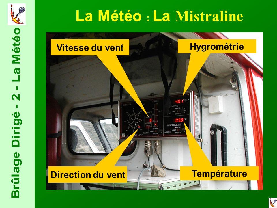 La Météo : La Mistraline Direction du vent Vitesse du vent Hygrométrie Température