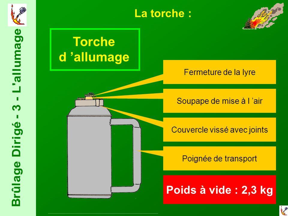 Torche d allumage Fermeture de la lyre Soupape de mise à l air Couvercle vissé avec joints Poignée de transport Poids à vide : 2,3 kg