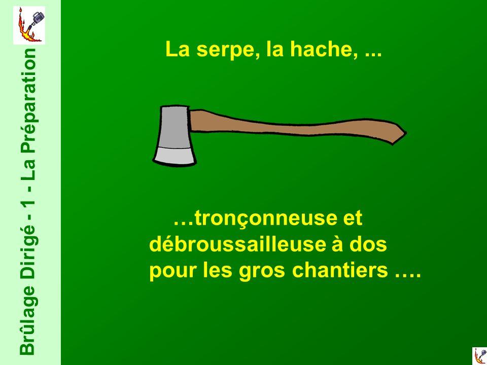 La serpe, la hache,... …tronçonneuse et débroussailleuse à dos pour les gros chantiers ….