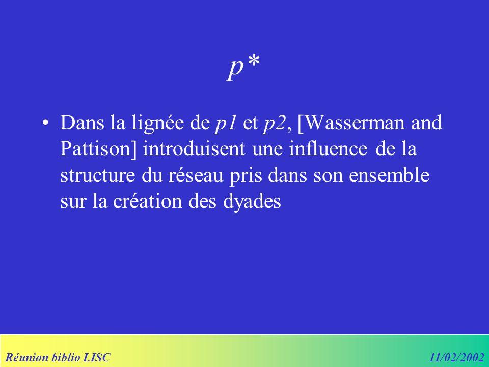 Réunion biblio LISC11/02/2002 p* Dans la lignée de p1 et p2, [Wasserman and Pattison] introduisent une influence de la structure du réseau pris dans son ensemble sur la création des dyades