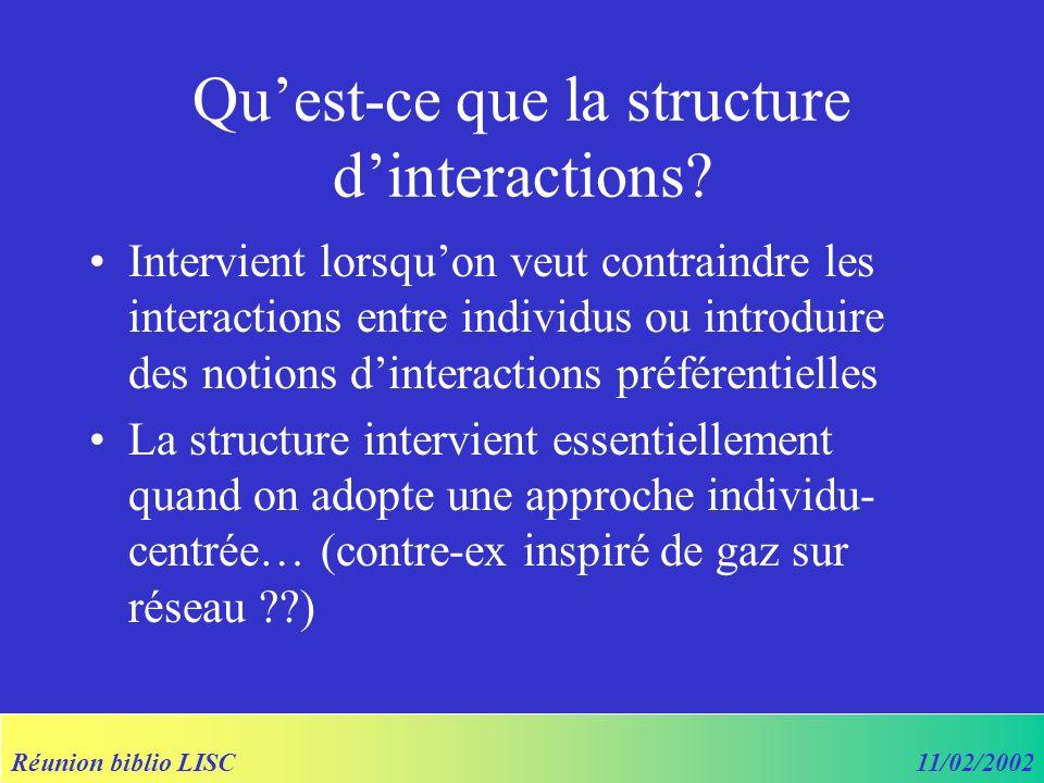 Réunion biblio LISC11/02/2002 Quest-ce que la structure dinteractions? Intervient lorsquon veut contraindre les interactions entre individus ou introd