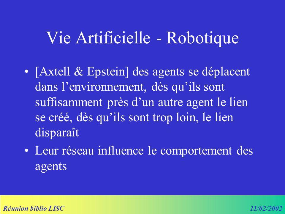 Réunion biblio LISC11/02/2002 Vie Artificielle - Robotique [Axtell & Epstein] des agents se déplacent dans lenvironnement, dès quils sont suffisamment près dun autre agent le lien se créé, dès quils sont trop loin, le lien disparaît Leur réseau influence le comportement des agents